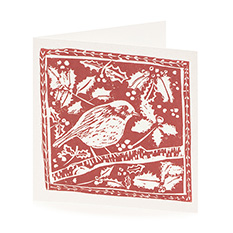 Red Block Print Robin Christmas card (10 pack)