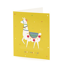 Mini Premium Pom Pom Llama Christmas card (10 pack)