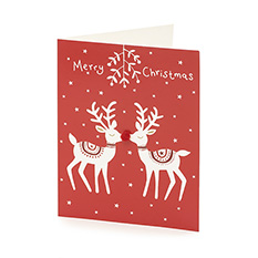 Mini Premium Pom Pom Reindeer Christmas card (10 pack)