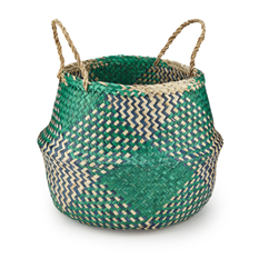 Large Teal Natural Rice Basket