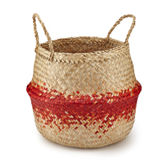 Large Red Natural Rice Basket