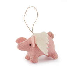 Handmade Felt Flying Pig Decoration