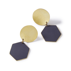 Navy Hexagon Earrings