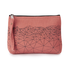 Small Coral Geometric Wash Bag