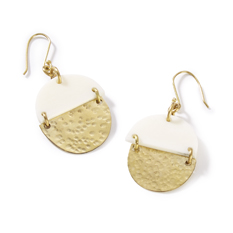 White bone circle earrings