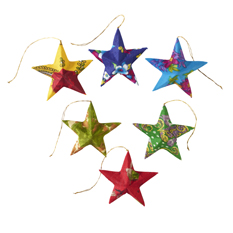 Set of six Recycled Sari Star Decorations
