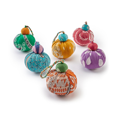 Set of six Recycled Sari Baubles