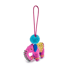 Pink Pom Pom Elephant Christmas Decoration