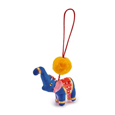 Blue Pom Pom Elephant Christmas Decoration