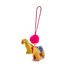 Yellow Pom Pom Elephant Christmas Decoration