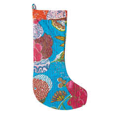 Blue Kantha Stitch Stocking