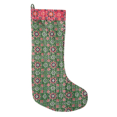 Green Kantha Stitch Stocking