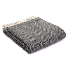 Grey Fishbone Wool Throw