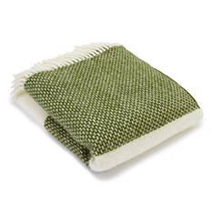 Green & Cream Panel Wool Throw