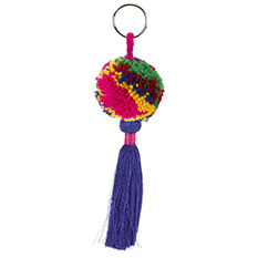 Handmade Pom Pom Keyring Multicoloured