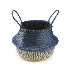 Large Handwoven Indigo Seagrass Basket