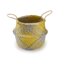 Medium Handwoven Yellow Check Seagrass Basket