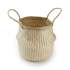 Small Handwoven Cream ZigZag Seagrass Basket