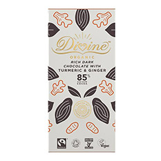 Divine Organic 85% Dark Chocolate with Turmeric & Ginger - 80g