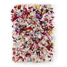 White/Multicoloured Fluffy Recycled Rug