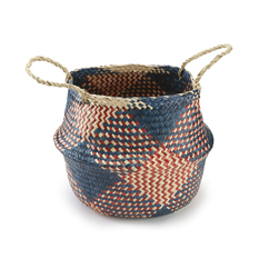 Handwoven Navy Check Seagrass Basket Medium