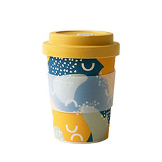 Reusable Bamboo Travel Cup in Abstract Print