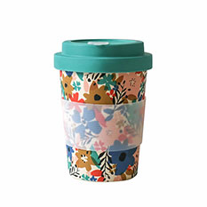 Reusable Bamboo Travel Cup in Floral Teal