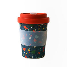 Reusable Bamboo Travel Coffee Cup in Terrazzo Print