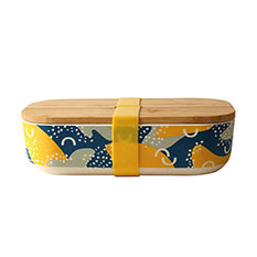 Reusable Bamboo Lunch Box in Abstract Print