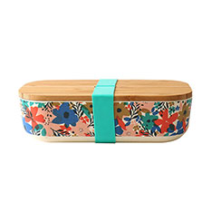 Reusable Bamboo Lunch Box in Floral Teal