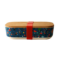 Reusable Bamboo Lunch Box in Terrazzo Navy