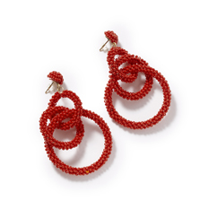Red Statement Bead Earrings