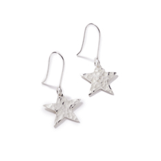 Silver Plated Sentiment Star Earrings