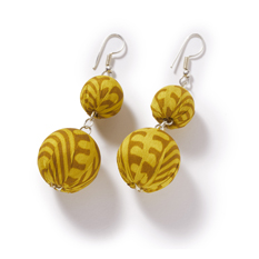 Gold Recycled Sari Statement Earrings