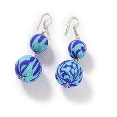 Blue Recycled Sari Statement Earrings