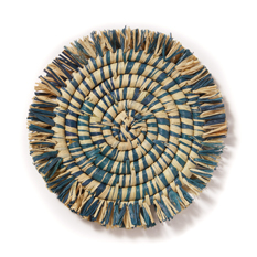 Blue Fringed Raffia Coaster - Set of 4