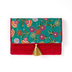 Embroidered Silk Clutch Bag