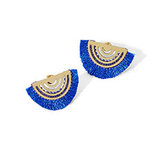 Blue Fan Stud Earrings