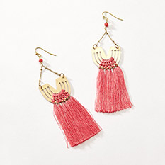 Coral fringe Drop Earrings