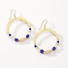 Blue Stone Drop Hoops