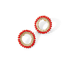 Red bead studs