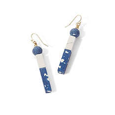 Blue Poly Clay Geo Earrings