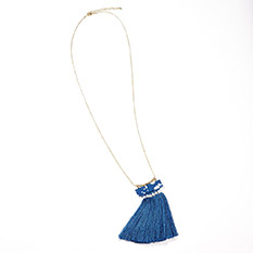 Blue Poly Tassel Necklace