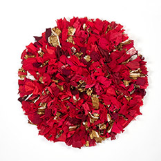 Red Recycled Sari Round Fluffy Rug