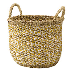 Large Handwoven Saba Hogla Basket Yellow