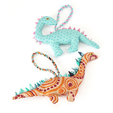 Dinosaur Christmas Decorations Set of 2
