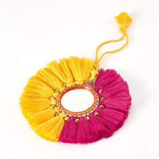 Tassel Mirror Pink and Yellow