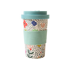 Reusable Bamboo Cup in Green Floral Print
