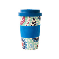 Reusable Bamboo Cup in Blue Tiles print