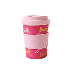 Reusable Bamboo Cup in Pink Cats Print